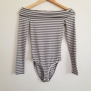 NWT One Clothing Off Shoulder Stripe Bodysuit XS